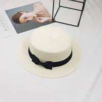 Шляпа женская летняя канотье с бантиком молочная, фото 1