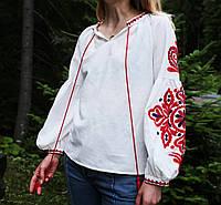 Жіноча вишиванка на льоні з машинною вишивкою червоного кольору 777822e13a46e