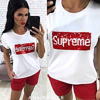 Женская футболка с нашивкой Суприм, вискоза, 42-46,серый, черный, белый, фото 1