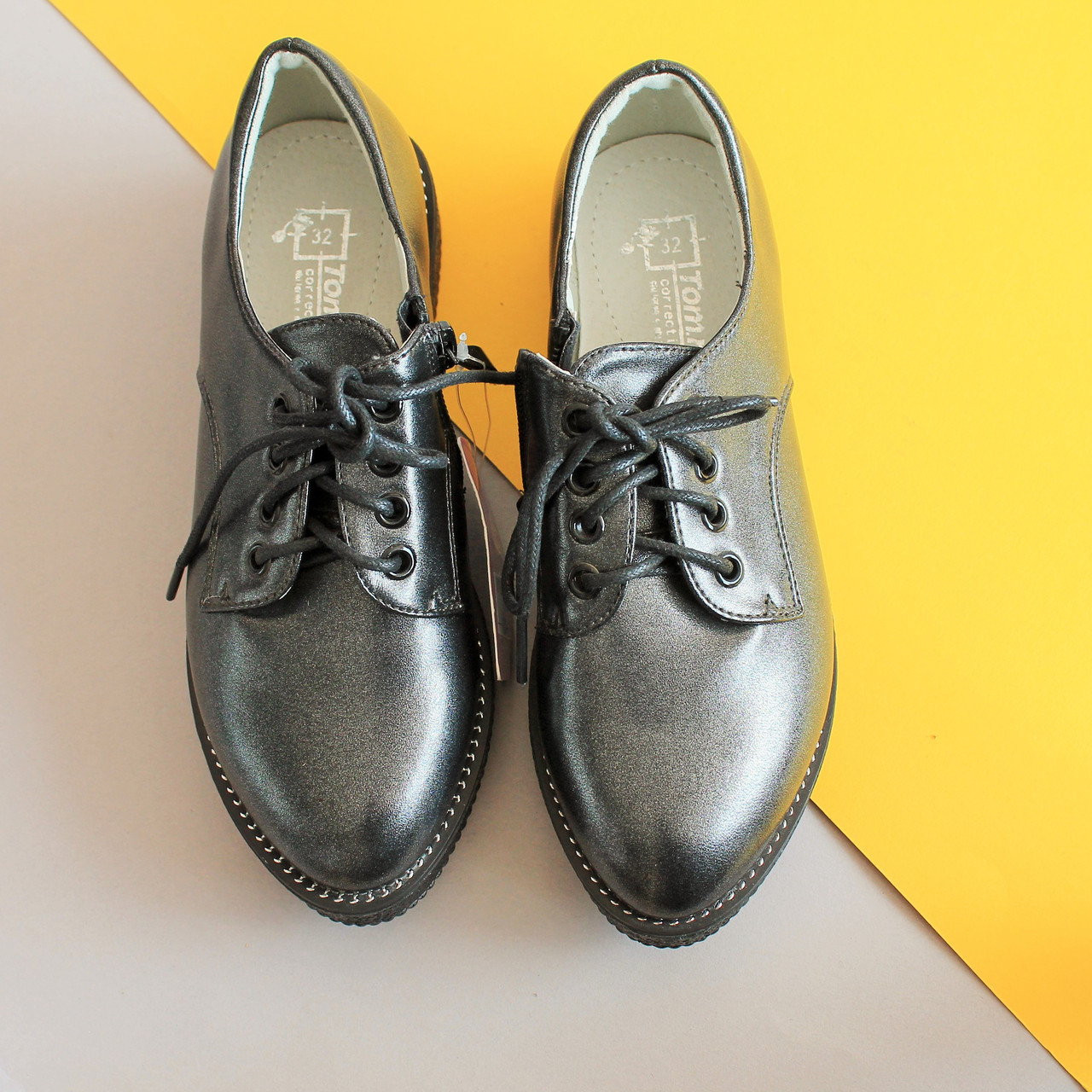 Подростковые туфли на шнурках для девочку, школьная детская обувь тм Тom.m р.36,37