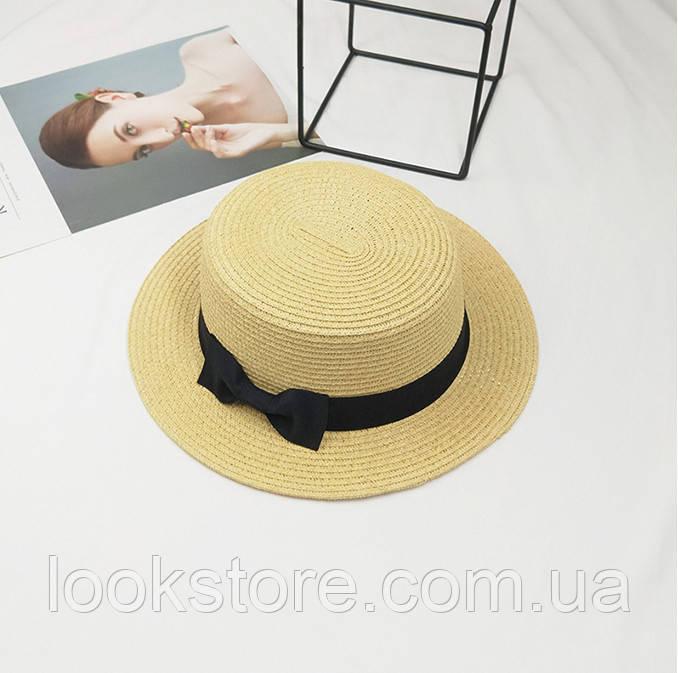 Шляпа женская летняя канотье с бантиком бежевая