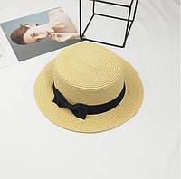 Шляпа женская летняя канотье с бантиком бежевая, фото 1