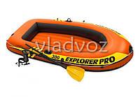 Лодка пвх надувная с веслами и насосом двухместная Intex 58358