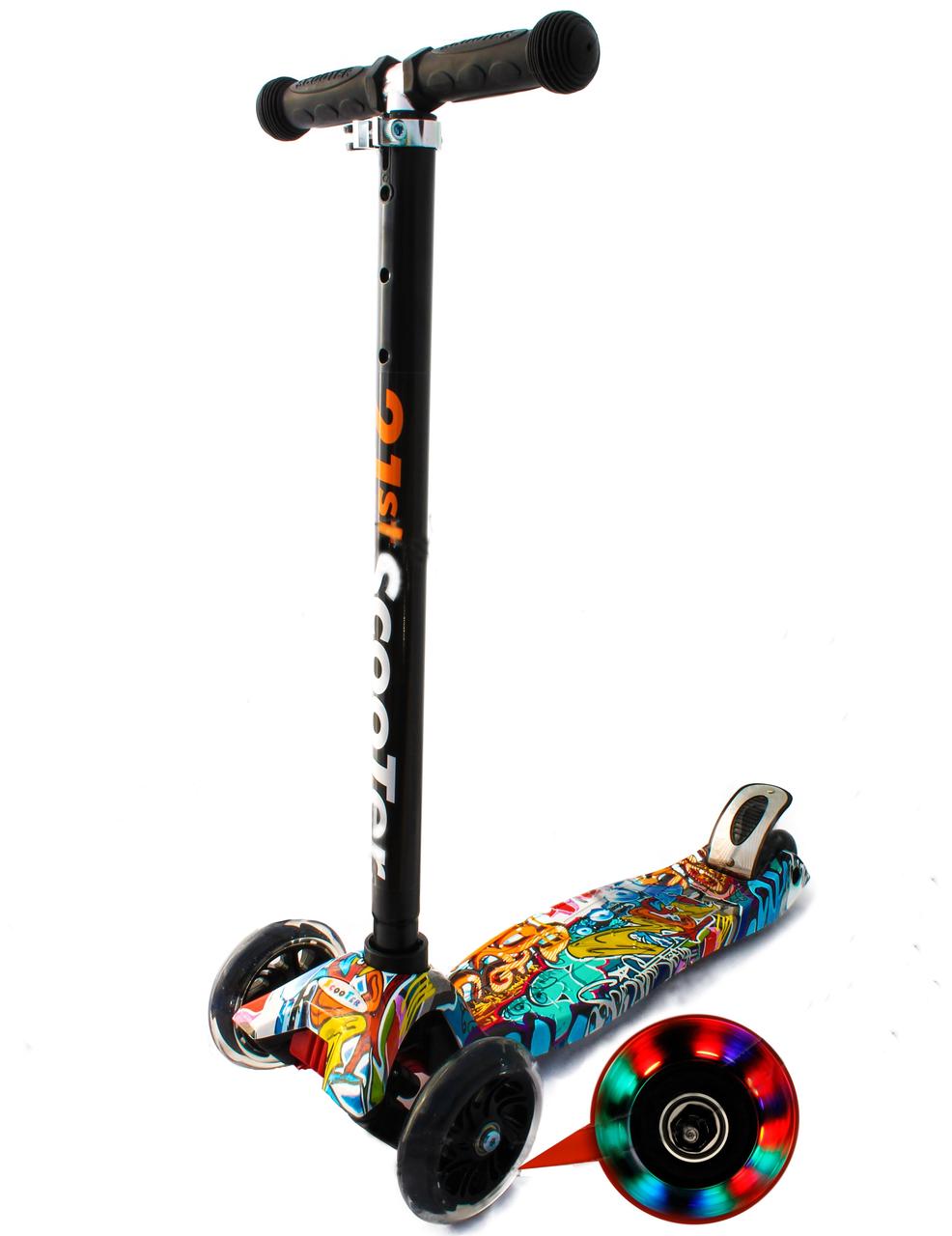 """Трёхколёсный самокат SCOOTER 21st Maxi """"Triumf Active SKL-07LP"""" со светящимися колесами и с принтом"""