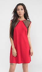 Легкое женское платье с молнией (змейкой) сзади. Свободное миниплатье с сеткой. Красное, черное