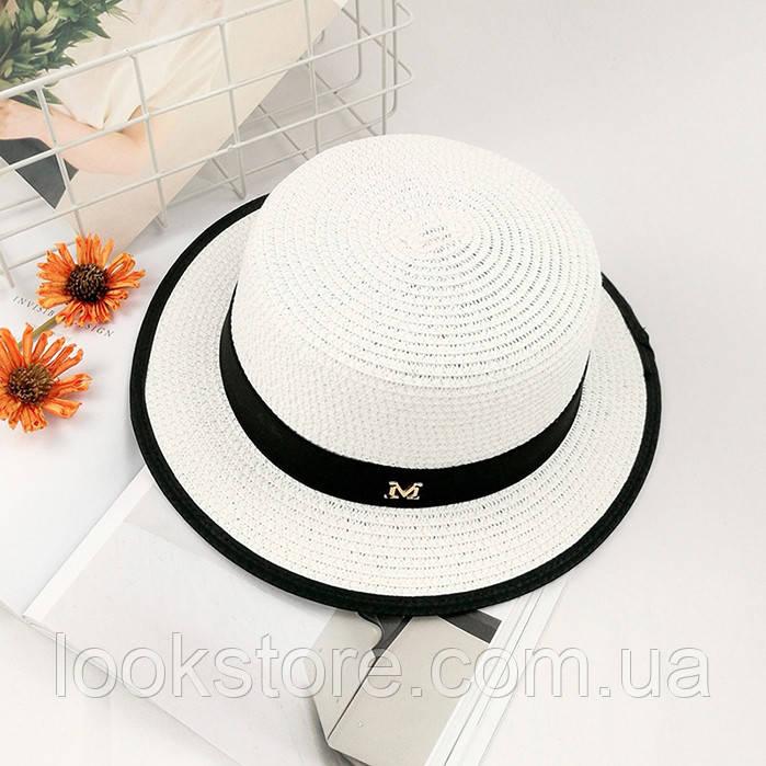 Шляпа женская летняя канотье в стиле Maison Michel белая