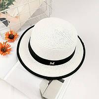 Шляпа женская летняя канотье в стиле Maison Michel белая, фото 1