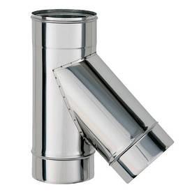 Тройник для дымохода 45 градусов одностенный из нержавеющей стали