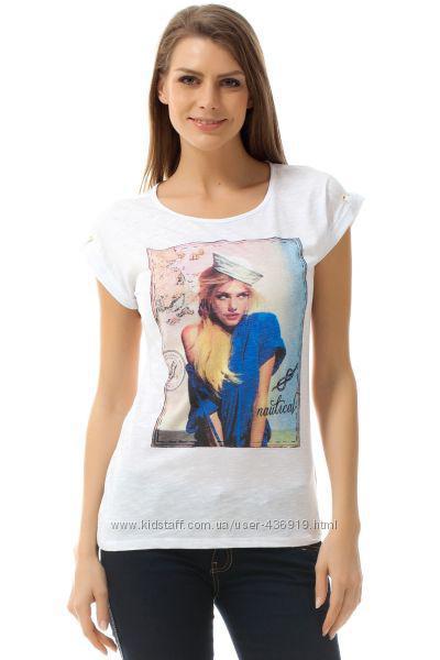 Белая женская футболка De Facto / Де Факто с рисунком-девочкой на груди
