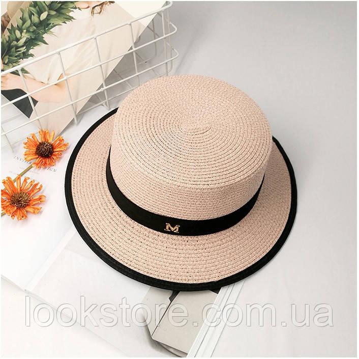 Шляпа женская летняя канотье в стиле Maison Michel розовая (пудровая)