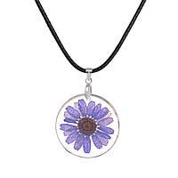 Ожерелье, Подвеска, Шнур, Кулон - Цветок, Фиолетовый, Прозрачный, Круглый, 46 см