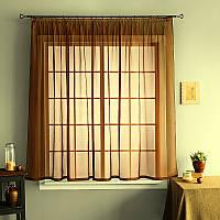 Тюль із шифону на кухонне вікно (коричневий)