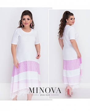 Платье женское рельефный трикотаж вставки из паплина  большой размер 56-64 цвет пудра, фото 2