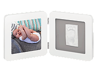 Двойная рамочка Baby Art с отпечатком бело-серая
