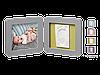 Двойная рамочка Baby Art с отпечатком Серая
