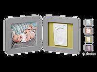 Двойная рамочка Baby Art с отпечатком Серая, фото 1