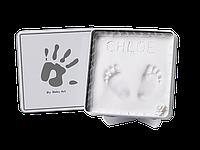 Магическая коробочка для отпечатка ладошки Baby Art квадратная бело-серая, фото 1
