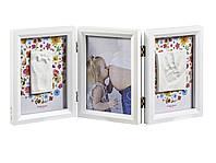 Рамочка Baby Art Тройная с отпечатками малыша Белая двухсторонняя (цветы/птички), фото 1