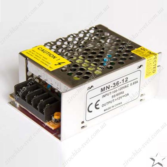 Блок питания для светодиодной ленты 12в 36вт 3А IP20 compact негерметичный MOTOKO