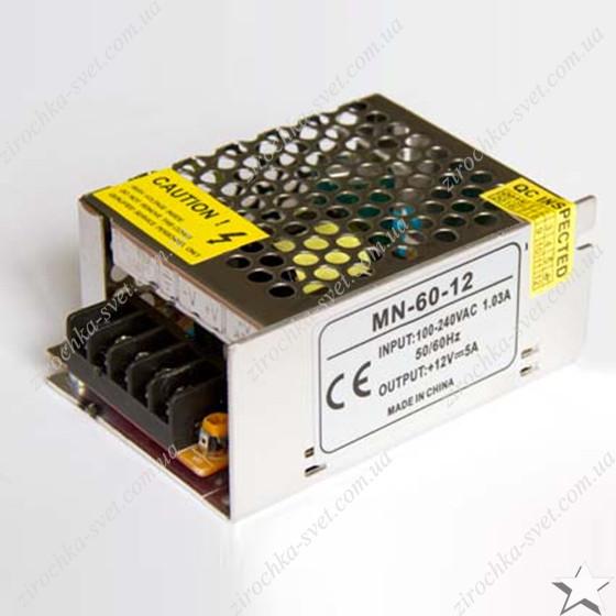 Блок питания для светодиодной ленты 12в 60вт 5А IP20 compact негерметичный MOTOKO