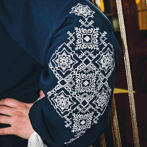 Женская блузка с вышивкой Марися с длинным рукавом темно синего цвета, фото 2