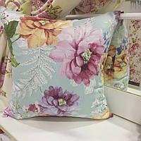 """Декоративная подушка """"Адель"""" цветы фрез большие принт 45х45: съемная наволочка, наполнитель холлофайбер, фото 1"""