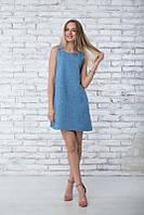 Летнее льняное платье  Грейс синий