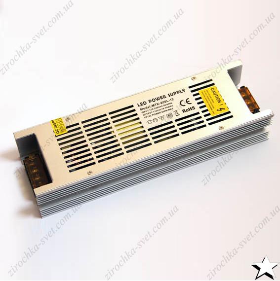 Блок питания для светодиодной ленты 12в 200вт 16,5А IP20 LONG негерметичный MOTOKO