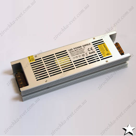 Блок питания для светодиодной ленты 12в 240вт 20А IP20 LONG негерметичный MOTOKO