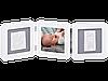 Рамочка Baby Art Тройная с отпечатком ручки ножки малыша бело-серая