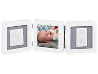 Рамочка Baby Art Тройная с отпечатком ручки ножки малыша бело-серая, фото 1