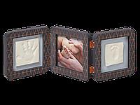 Рамочка Baby Art Тройная с отпечатком ручки ножки малыша Медно-темно серая, фото 1