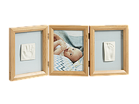 Рамочка Baby Art Тройная с отпечатком ручки ножки малыша Натуральная, фото 1