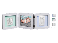 Рамочка Baby Art Тройная с отпечатком ручки ножки малыша Пастель, фото 1