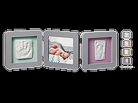 Рамочка Baby Art Тройная с отпечатком ручки ножки малыша Серая , фото 1