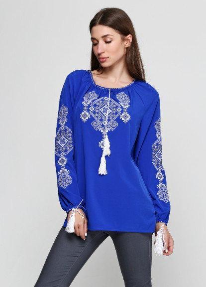 Блузка вышиванка синего цвета Ганна с длинным рукавом