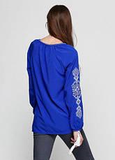 Блузка вышиванка синего цвета Ганна с длинным рукавом, фото 2