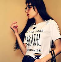 Женский топ-футболка Сердце редикал, 42-46,вискоза, с прорезами, белый, розовый, черный, фото 1
