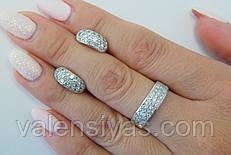 Комплект серебряных украшений - кольцо и серьги