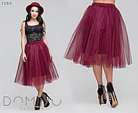 Женская пышная юбка с фатина, 42-48,черный, марсала, темно-синий, нежно-розовый, голубой, мята, шоколад , пудр, фото 1