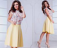 Женская юбка колокольчик с костюмки, 42-44,44-46,розовый ,мята ,желтый , фото 1