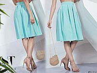 Женская юбка миди, ткань софт, розовая, мята. темно-синяя,42, 44, 46