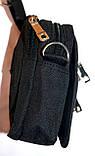 Мужская текстильная барсетка на клапане черная 10*14 см, фото 2