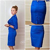 Женская юбка-карандаш, мемори, рр 42-52,красный, электрик, бежевый, синий, чёрный, коралл, фото 1