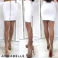 Женская облегающая джинсовая юбка на молнии впереди, 42-44,44-46, джинс, бордо, бутылка, белый, черный, фото 1