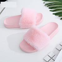 Тапочки комнатные женские меховые на пластиковой подошве розовые (р. 35)