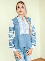 Вишиванка жіноча Жанна (синій джинс-льон з білою мережкою) bc618d4e10fd3