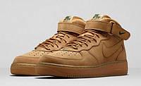 Кроссовки Nike Air Force 1 Mid реплика ААА+ (натуральная кожа) р. 44 коричневый