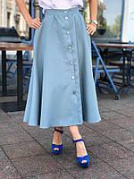 Женская юбка миди на пуговицах, 42, 44, 46,красный,бежевый,голубой, фото 1