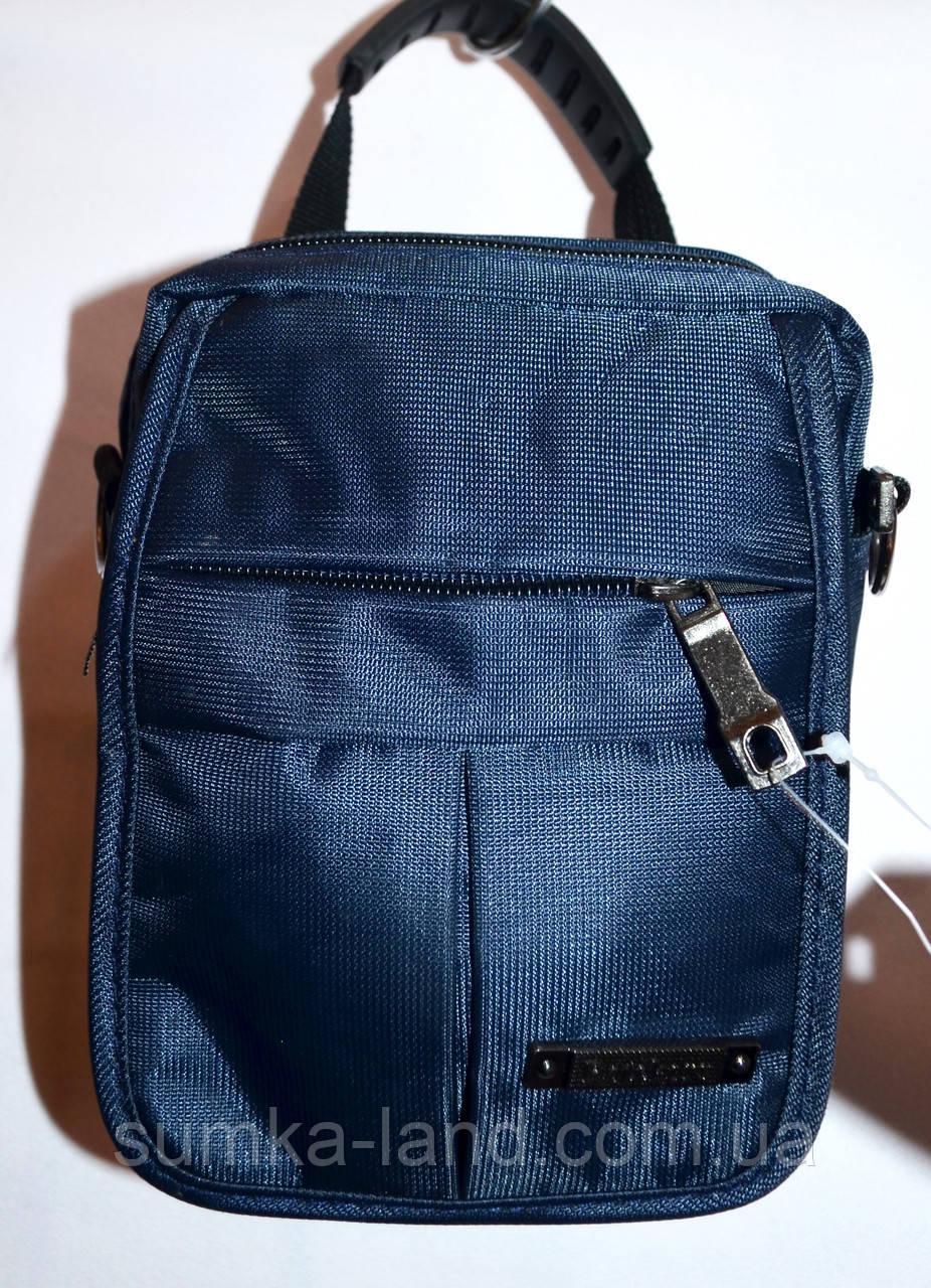 Мужская барсетка текстильная синяя 11*15 см